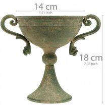 Tazza con manici, calice in metallo, anfora per piantare Ø14cm H18cm