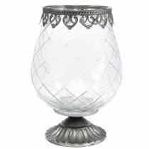 Calice decorativo in vetro con base in metallo Ø16cm H23.5cm