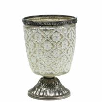 Bicchiere tealight in argento floreale contadino Ø9cm H13,5cm