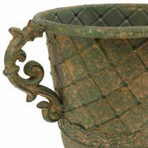 Coppa per piantare, calice con manici, vaso in metallo aspetto antico Ø15,5cm H23,5cm
