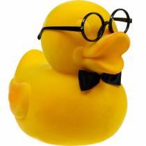 Figura decorativa anatra con occhiali giallo, divertente decorazione estiva, anatra decorativa floccata
