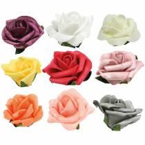 Schiuma-Rosa Ø6cm diversi colori 27 pezzi