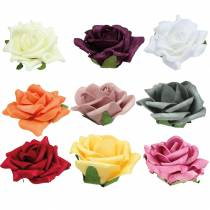 Schiuma-Rosa Ø7,5cm diversi colori 18 pezzi