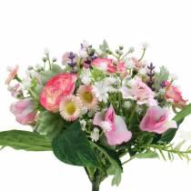 Bouquet artificiale con ranuncolo e bellis rosa, bianco Ø20cm