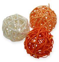 Palline in rattan 4,5 cm arancione albicocca 30 pezzi