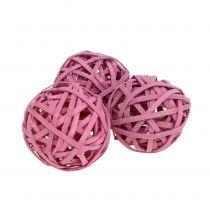 Rattanball Pink Ø4cm 12pcs