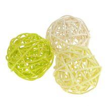 Rattanball Mix Ø5cm verde chiaro verde pallido sbiancato 30 pezzi.