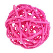 Palline in rattan rosa assortite Ø4cm 24 pezzi