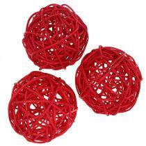 Palla in rattan rossa Ø7,5cm 15 pezzi