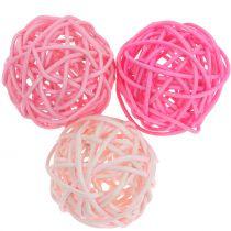 Palla in rattan Mix rosa Ø5cm 18 pezzi