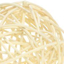 Palla in rattan sbiancato Ø7,5cm 15 pezzi