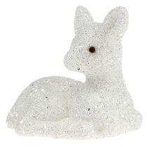 Fawn sdraiato 8cm glitter bianco 6 pezzi