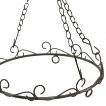 Anello decorativo con gancio per appendere marrone ruggine Ø20,5cm
