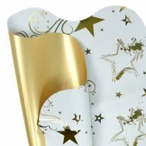 Film per imballagio fiori motivo natalizio Bianco / oro 60 cm 50 pezzi