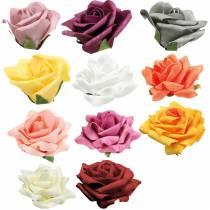 Schiuma-Rosa Ø10cm diversi colori 8 pezzi