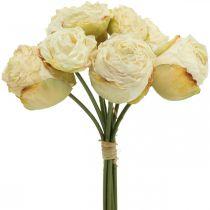 Rose artificiali, fiori di seta, mazzo di rose bianco crema L23cm 8 pezzi