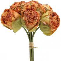 Mazzo di rose, fiori di seta, rose artificiali arancioni, aspetto antico L23cm 8 pezzi
