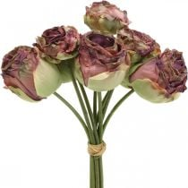Rose rosa antico, fiori di seta, fiori artificiali L23cm 8 pezzi