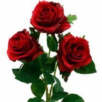 Rose rosse rose artificiali fiori di seta 3 pezzi