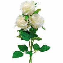 Rosa bianca su stelo, fiore di seta, rosa artificiale 3 pezzi