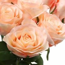 Bouquet di rose artificiali albicocca 8 pezzi