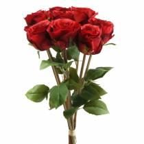 Rose in un mazzo artificiale rosso 36 cm 8 pezzi