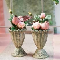 Rosa nel bicchiere rosa H23cm