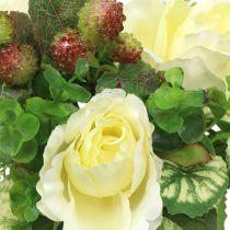 Bouquet di rose / ortensie bianco con frutti di bosco 31 cm