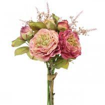 Rose fiori di seta in un mazzo di bouquet autunnali rosa, viola H36cm