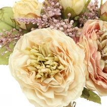 Rose fiori artificiali in un mazzo di bouquet autunnale crema, rosa H36cm