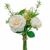 Bouquet di rose artificiali Fiori di seta crema in un bouquet
