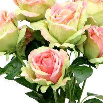 Cespuglio di rose verde artificiale, rosa 55 cm