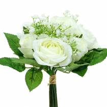 Bouquet di rose con gypsophila bianco 26 cm