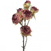 Rosa artificiale, decorazione da tavola, fiore artificiale rosa, ramo di rosa aspetto antico L53cm