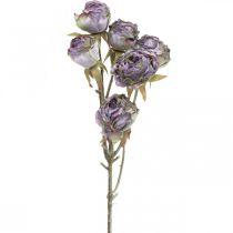 Ramo di rosa, fiore di seta, decorazione da tavola, aspetto antico viola rosa artificiale L53cm