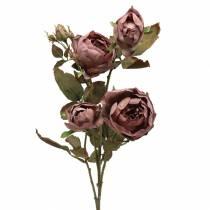 Ramo di rosa viola artificiale 76 cm