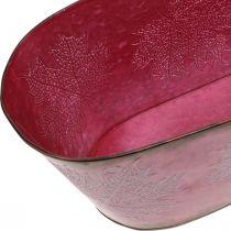 Ciotola con decoro a foglia, fioriera, decoro autunnale, vaso in metallo rosso vino L38cm H15cm