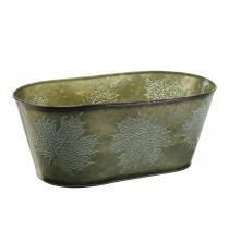 Vaso per fioriera per l'autunno, decoro in metallo con decoro a foglia verde L38cm H15cm