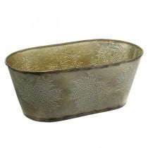 Vaso autunnale, vaso fioriera con foglie, decoro in metallo dorato L38cm H15cm