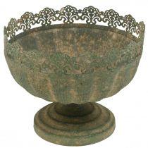 Fioriera rustica, ciotola con piede, decoro in metallo, aspetto antico, Ø18,5cm H15cm