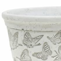Vaso per piante bianco con farfalle 17 cm x 12 cm H8 cm 2 pezzi