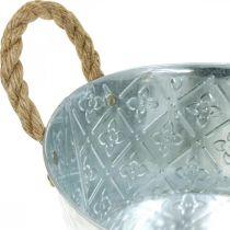 Ciotola per fioriera, vaso in metallo con motivo floreale, vaso per fiori con manici Ø18cm