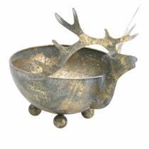 Ciotola con testa di renna in metallo dorato anticato Ø14cm