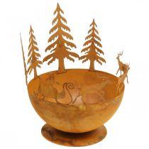 Ciotola decorativa con slitta di Natale, decorazione dell'Avvento, recipiente in metallo, griglia in acciaio inossidabile Ø25cm H32.5cm