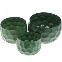Vaso decorativo in metallo verde vintage fioriera Ø25 / 20,5 / 16,5 cm set di 3