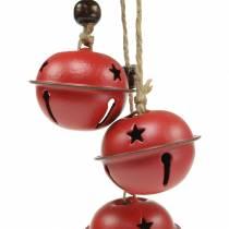 Campanelli con stella sul nastro da appendere rosso L30cm 2 pezzi