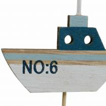 Spina decorativa nave legno bianco blu naturale 8 cm H37 cm 24 pezzi