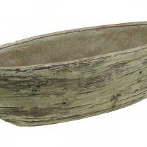 Vaso per fioriera ovale in cemento aspetto legno marrone chiaro 37 × 11,5 cm H10 cm