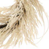 Ghirlanda decorativa erba di pampa e canne crema artificiale 70cm