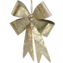 Fiocco da appendere, addobbi per l'albero di Natale, decorazione in metallo dorato, aspetto antico H23cm L16cm